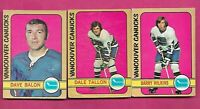 1972-73 OPC VANCOUVER CANUCKS CARD  LOT (INV# C1652)