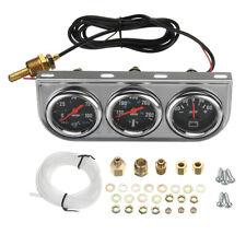 """2"""" 52mm Oil Pressure Amp Meter Water Temp Triple Gauge 3in1 Set Chrome   ^"""