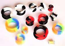 4-25mm Soft Silicone Stretcher Earring Flesh Tunnel Ear Plug Expander 2 Tone 1pc