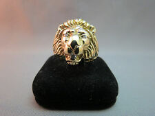 14k Yellow Gold Lion Head 3 Diamond Ring Size 8 Hefty 16.1 Grams Estate NICE!