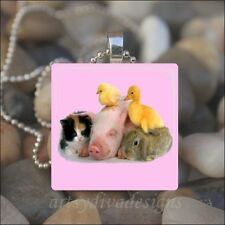 "Chick Bunny Easter Glass Pendant Necklace ""Baby Animal Friends"" Kitten Duck Pig"