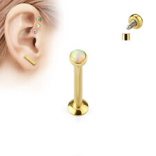 1pc Opal Set Ion Plated Surgical Steel Internally Threaded Labret Monroe