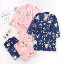Chinese Japanese Cats & Cherry Blossom Long Ladies Kimono Pyjamas ladpj288289