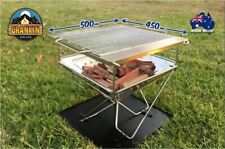 FOLDING FIRE PIT BBQ GRILL 500mm x 450mm LARGE SIZE STAINLESS STEEL COMPLETE KIT