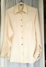 Authentic HERMES Woman's Off-white Vintage Silk Shirt Size F 42  UK 12 US 10 --