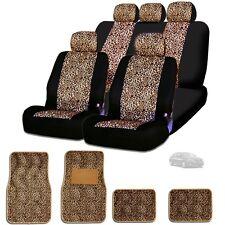 New Semi Custom Animal Cheetah Print Car Seat Covers Mats Full Set For KIA