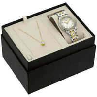 Bulova 98X127 Swarovski Crystal Dial Watch & Crystal Stud Necklace Set #R10(3067
