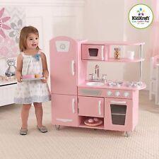 Vintage Wooden Play Kitchen Pink KidKraft Preschool Toy Play Pretend Interaction