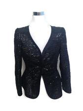 Armani Collezioni Jacket 6 Black Silk Sequin Blazer Women's V Neck Cocktail LS