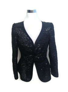Armani Collezioni Jacket 6 Black Silk Sequin Blazer Women's V Neck Cocktail LS