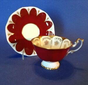 Royal Albert Pedestal Tea Cup And Saucer - Dark Red And Gold - Vintage - England