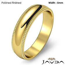 Men Wedding Band 14k Gold Yellow Dome Milgrain Edge Solid Classic Ring 5mm 5.5gm
