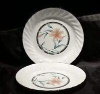 "2 Corelle TIGER LILY 7-1/4"" Cake Bread & Butter Dessert Plates Retired NEW Flora"