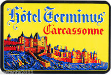OLD LUGGAGE LABEL  HOTEL TERMINUS, CARCASSONNE, FRANCE, FRANCIA