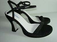 WOMENS NEW BLACK SILVER SPARKLE EVENING STRAPPY SANDALS HEELS SHOES SIZE 7 M
