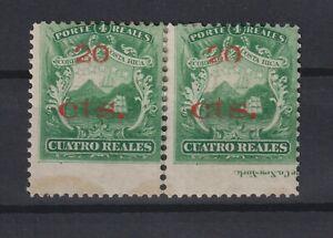 Costa Rica imprint pair mint 20cts on 4r #15, cat $600 (Z9)