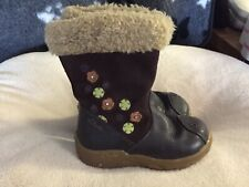 Clarks Girls Plum Maroon Red Leather Boots Kids Infant UK Size 5.5 F