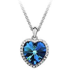 Ocean Heart Pendant Necklace Women Crystal Rhinestone Jewelry Accessories Gift ^
