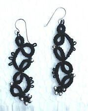 Black handmade Earrings Tatted Frivolite Lace with Sterling Silver hook
