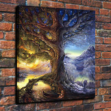 Modern Wall Art Print Oil Painting On Canvas,Time Tree,Day&Night Time River18x22