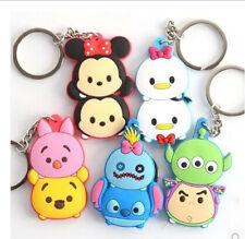 Hot 10 Pcs tsum Mickey Minnie Winnie Stitch Piglet Key Chains Keyring Key Holder
