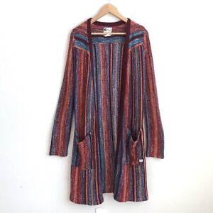 Billabong Womens Size Large Multicolor Long Cardigan Sweater Open Front Pockets