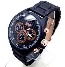 592T Hombre Nuevo Elegante Reloj de Pulsera Lujo Correa Negra Cronógrafo Marrón
