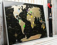 Scratch off map World XXL Premium Large 35x25 Push pin map Gift Gold Black Wall