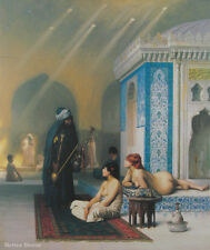 """24"""" PRINT Pool in Harem by J.Gerome ANTIQUE MUSEUM ART - NUDES"""