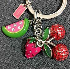 NEW Coach 3D Strawberry Cherry Water Melon Multi Charm Keyfob Keychain