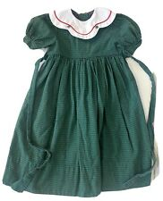 Monday's Child 6X Christmas Holiday Dress Green Red Plaid Cotton White Collar