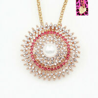 Betsey Johnson Pearl Crystal Rhinestone Round Pendant Chain Necklace/Brooch Pin