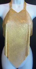 Noir Made In USA Rare Heavy Gold Plated Mesh Open back Party Blouse Shirt  14 OZ