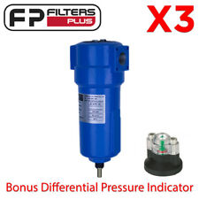 "3 x Commercial Compressed Air Filter Units 1/2"" BSP 45CFM 16bar Bonus Gauges"