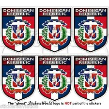 """DOMINICAN REPUBLIC Shield 40mm (1.6"""") Mobile Cell Phone Mini Stickers, Decals x6"""