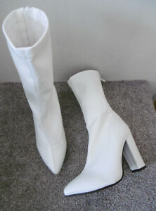 Koi White Pointed Toe Heeled Mid Calf Sock Boots Size UK 5 EU 38