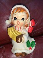 Vintage Elf Pixie Playing Accordion Figurine Bank Christmas
