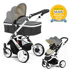 7c7a760fd Allis 2 in1 Baby Pram Pushchair Stroller Buggy Carry Cot Travel System Grey