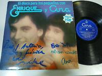 """Enrique y Ana el Disco para los Pequeños - LP Vinilo 12"""" VG/G+ Firmado a mano"""
