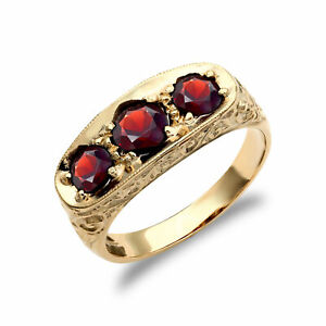 Mens 9ct Gold Garnet 3 Stone Trilogy Carved Gypsy Ring