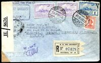 URUGUAY TO USA Air Mail Registered Censored Cover 1943 VF