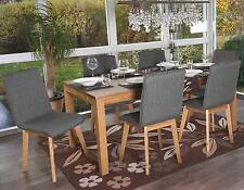 6x Esszimmerstuhl Kolding, Retro Design, Textil grau ohne Naht, Stuhl Lehnstuhl