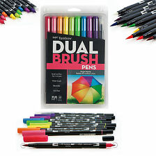 Tombow Dual Brush Pen Art Markers, Bright, 10-Pack in 9-Colors & 1-Blender Pen