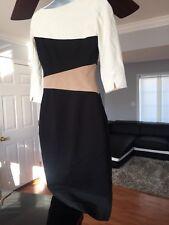 WHBM White Black Beige Colorblock Midi Dress. Professionally Altered Length. 2