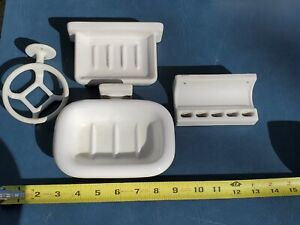 Vintage ANTIQUE White Porcelain Wall CUP & TOOTHBRUSH HOLDER 2 SOAP DISHES