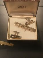 Lot of (4) SWANK Signed Vintage Swank Cuff links Cufflings Tie Accessories Box