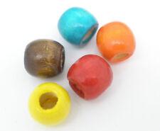 LOT de 60 GRANDES PERLES en BOIS 12 x 11 mm 5 COULEURS trou 5mm création bijoux