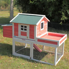 """New listing 65"""" Wooden Chicken House Coop Hen Pet Animal Poultry Cage Rabbit Hutch w/Run"""