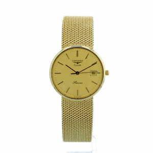 Gents Longines Presence 9ct Yellow Gold Dress Watch with Gilt Dial Quartz