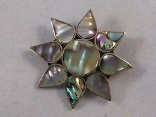 Pretty Vintage Mexican Alpaca Silver and Abalone Flower Brooch
